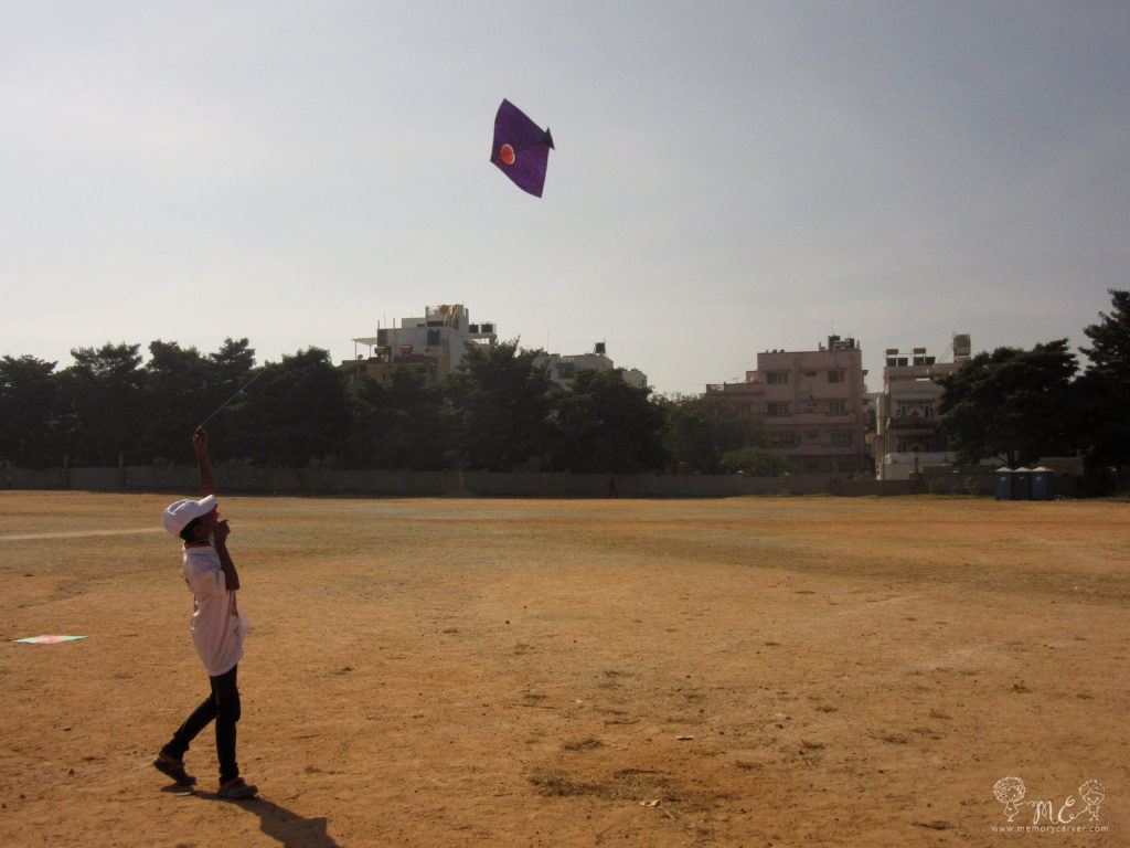volunteer flying kite