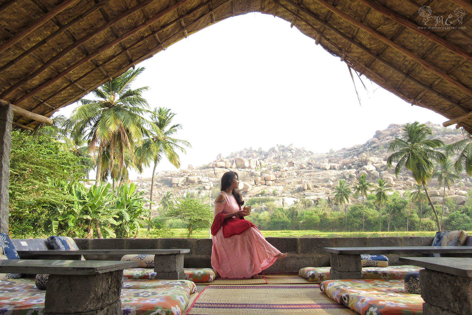 coffee at hampi with a view - hampi road trip