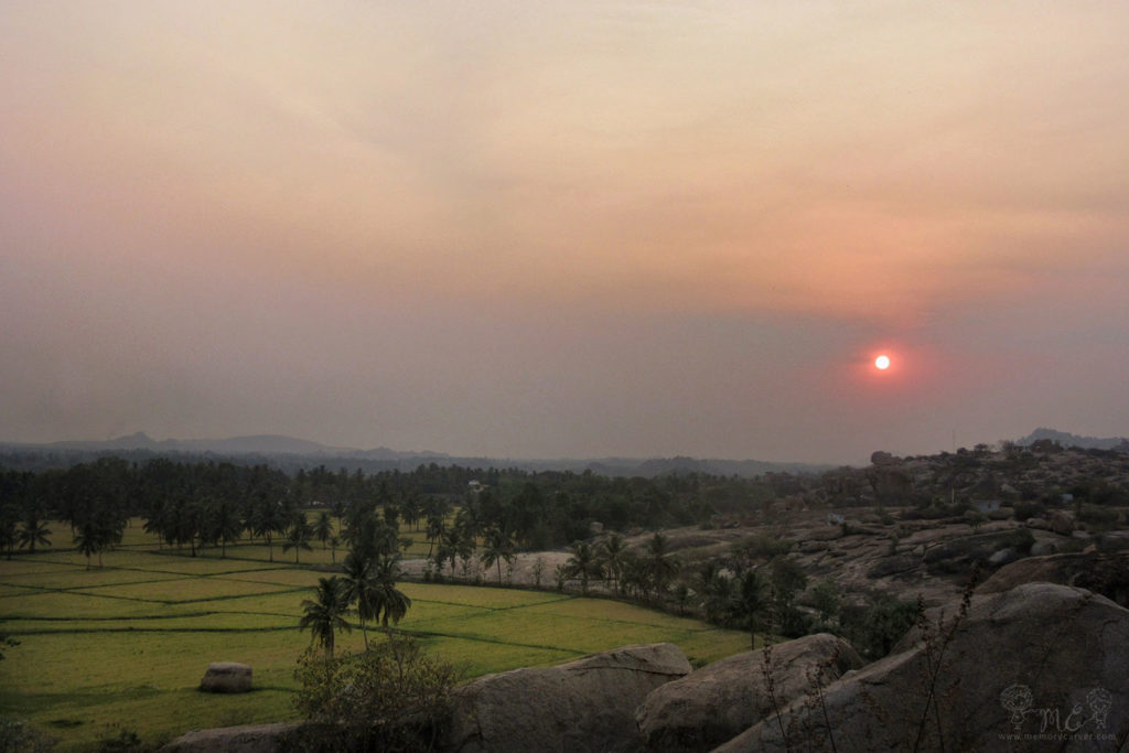 sunset at sunset point hampi