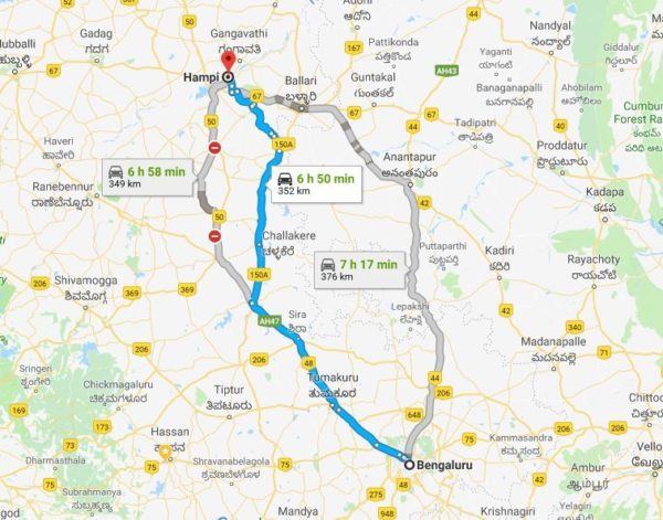 bangalore to hampi routes