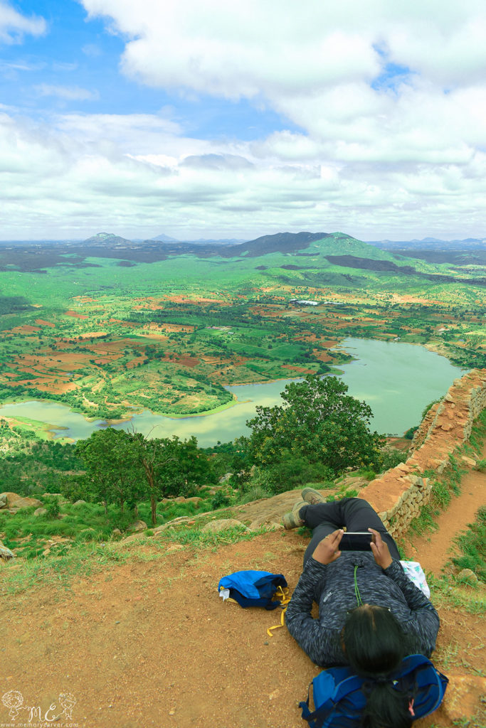 experiencing the view during the day trek to Makalidurga hill from bangalore
